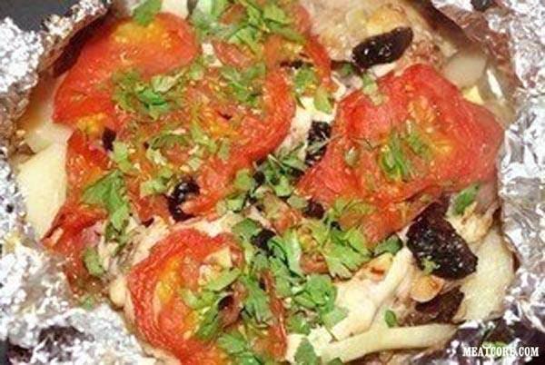мясо с сыром грибами и помидорами в духовке рецепты с фото