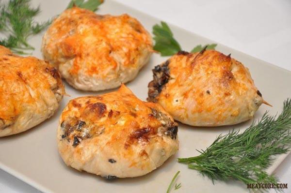 куриные котлеты с грибами и сыром рецепт с фото в духовке