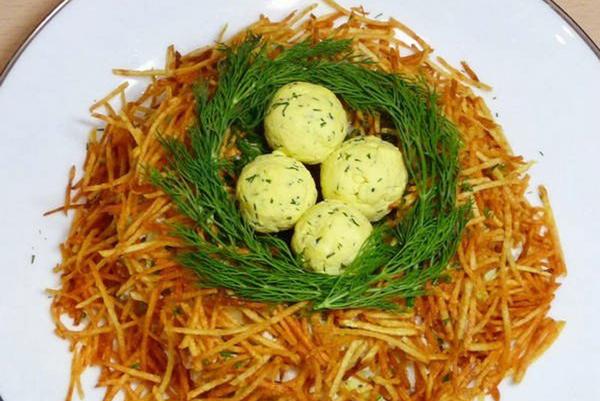 гнездо глухаря салат классический рецепт с фото