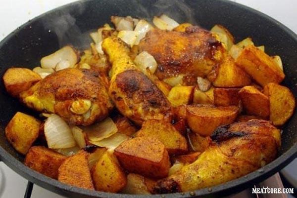 курица на сковороде с картошкой рецепт