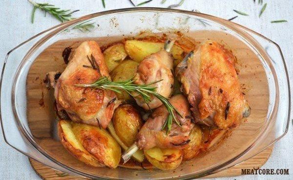 Запеченная картошка курицей рецепт фото