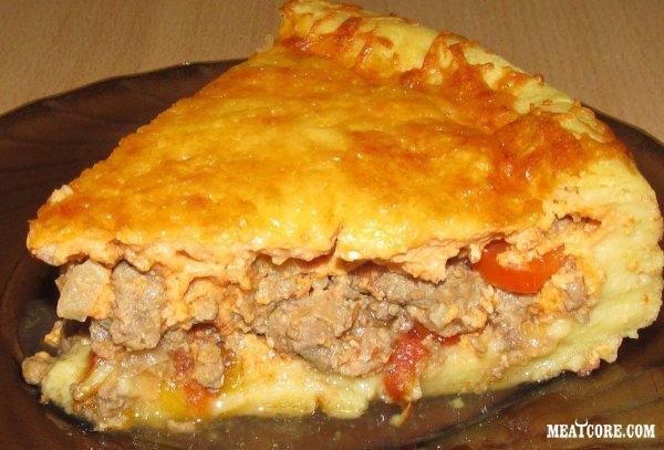 Пирог с мясом в духовке пошаговый простой рецепт